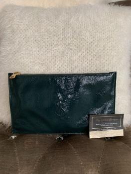 Saint Lauren YSL Wrinkled Patent Dark Green