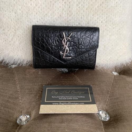 Saint Laurent YSL Black Moc Croc Small Compact Wallet