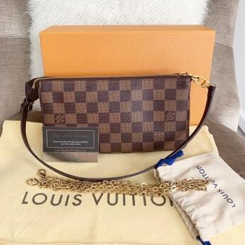 Louis Vuitton Damier Ebene Pouchette Accessories With Felicie Chain