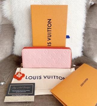 Louis Vuitton Rose Poudre Flower Empreinte Clemence Wallet