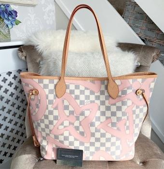 Louis Vuitton Damier Azur Rose Ballerine Tahitianne Neverfull MM