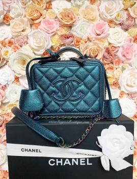 Chanel Mermaid Rainbow Hardware Small Turquoise Iridescent Filigree Vanity case