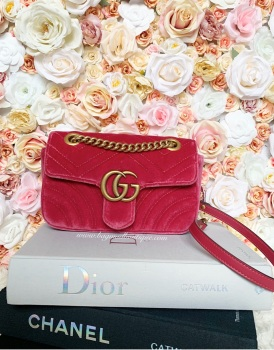 Gucci Raspberry Velvet Mini Marmont Flap Bag