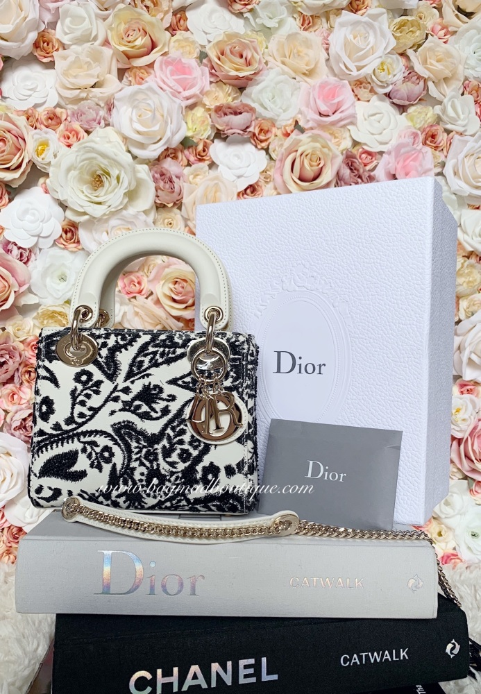 Christian Dior 2019 Exclusive Cream and Black Embroidered Mini Lady Dior