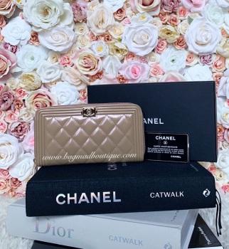 Chanel GHW Pink/Beige/Rose Gold Iridescent Glossy Calfskin Large Boy Wallet