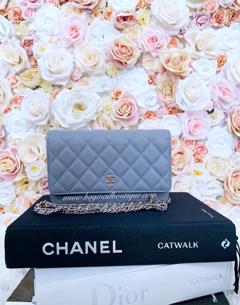 Chanel LGHW 20C Classic Quilted Grey Caviar Wallet On Chain