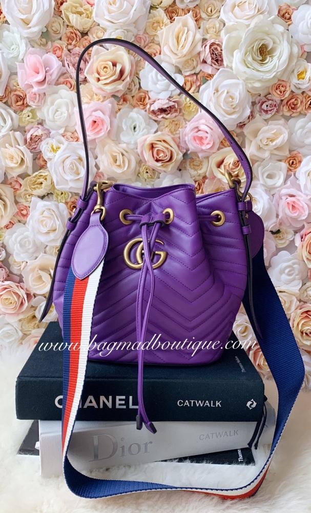 Gucci Purple Marmont Drawstring Bucket Bag