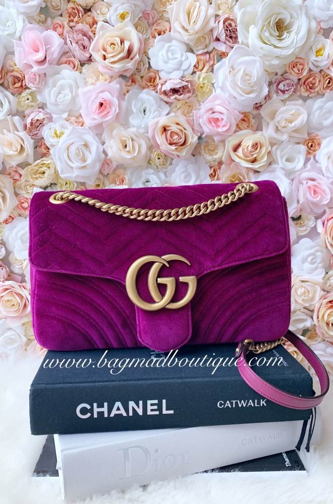 Gucci Plum Velvet Marmont Medium Flap