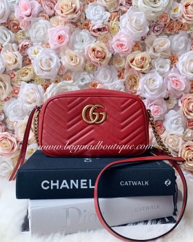 Gucci Hibicus Red Small Marmont Camera Bag