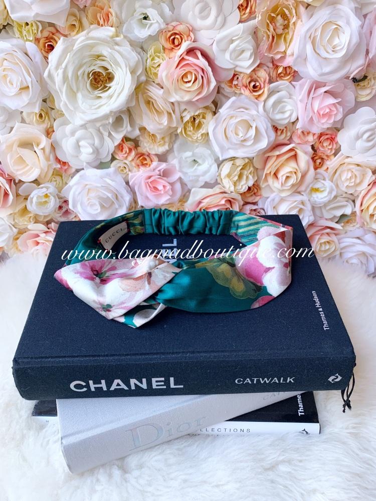 Gucci Blooms Green Silk Floral Headband