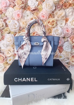Mulberry Pale Slate Blue Micro Bayswater With Twilly