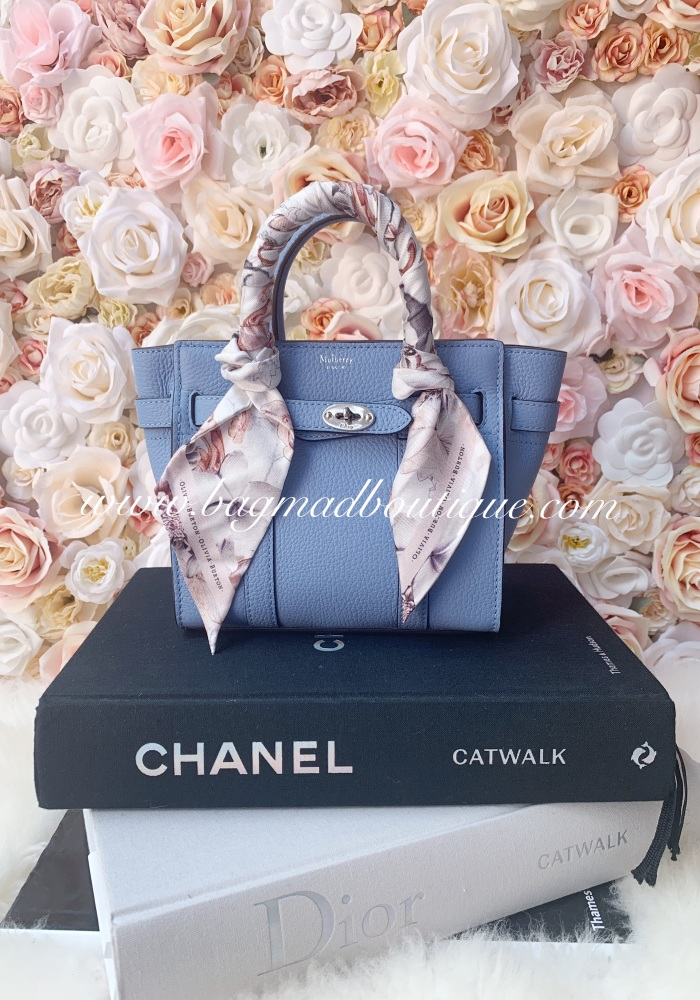 Mulberry Pale Slate Blue Mini Bayswater With Twilly