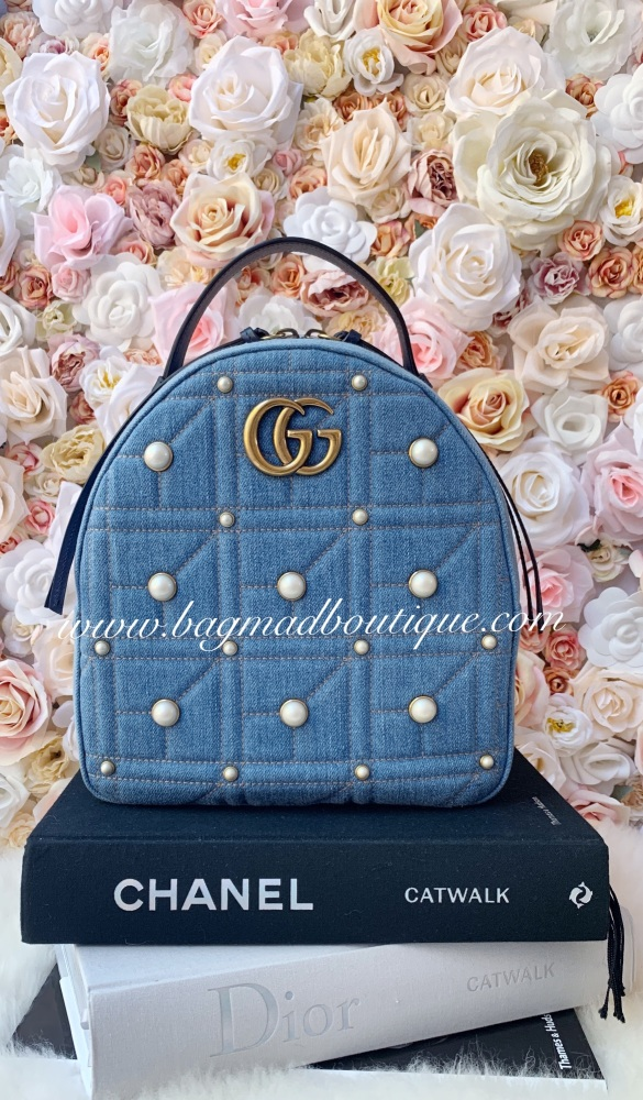 Gucci Denim Pearl Marmont Backpack