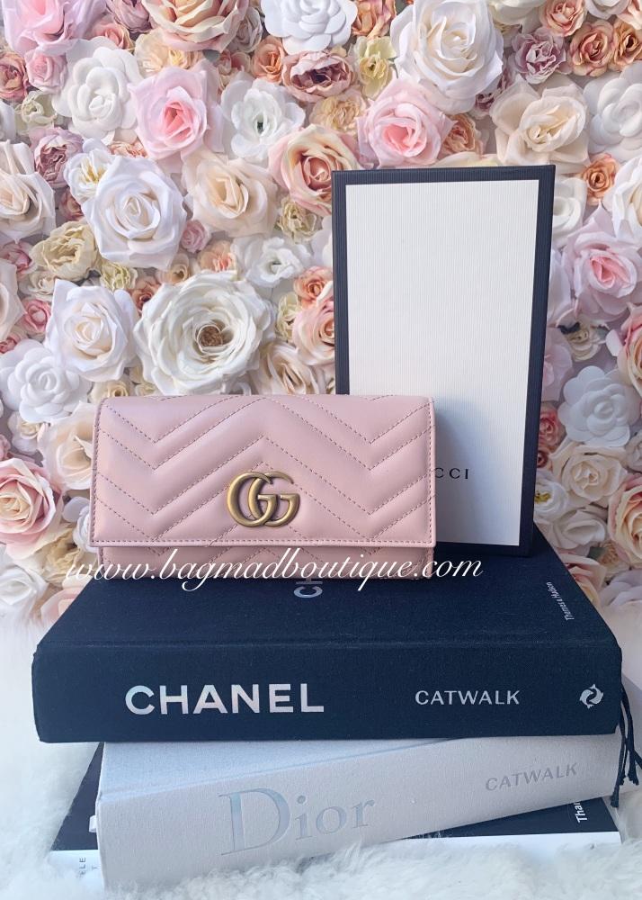 Gucci Pale Pink Marmont Large Long Wallet