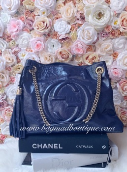 Gucci Navy Patent Soho Tote