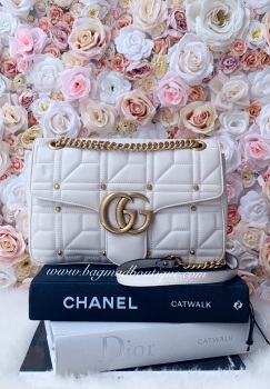 Gucci Off White Studded Medium Marmont Flap