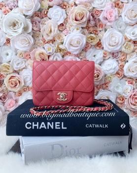 Chanel 17c LGHW Pink Caviar Square Mini