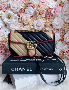 Gucci Black Beige and Red Small Marmont Flap