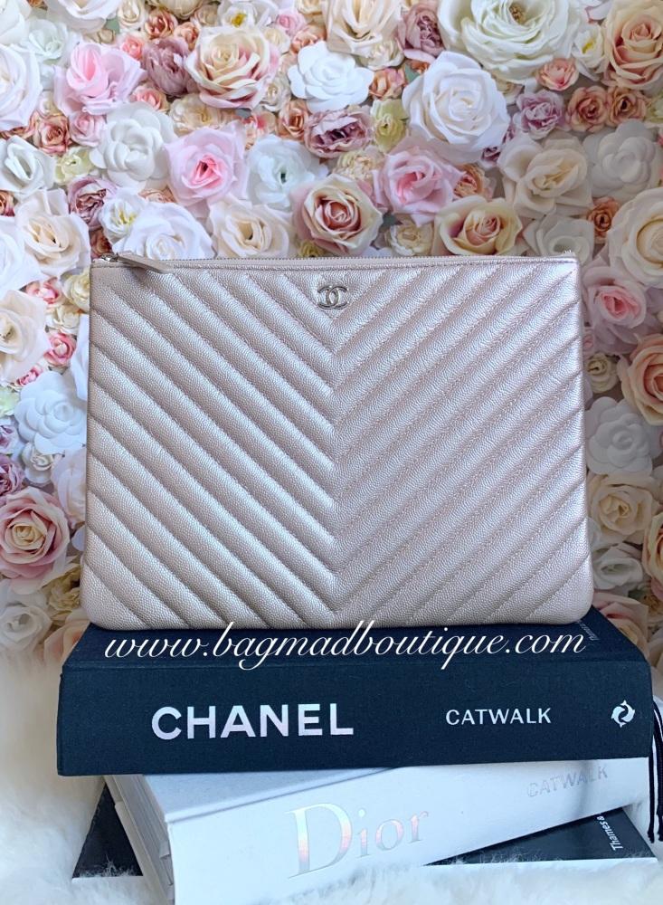 Chanel SHW Rose Gold Chevron Caviar Large O Case