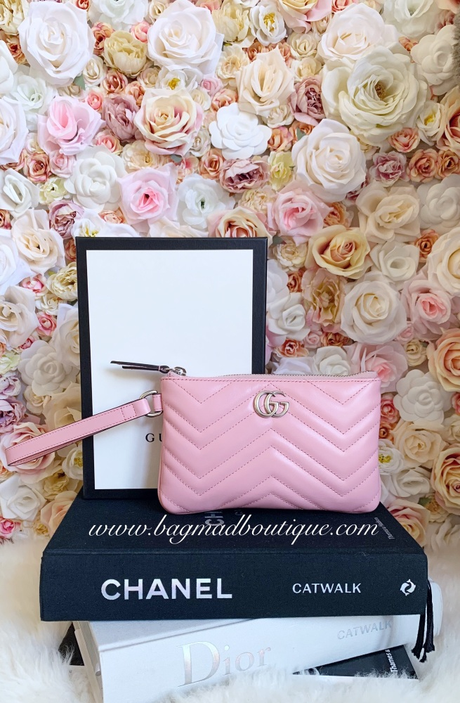 Gucci Limited Edition Pink Marmont Medium Pouch/Clutch