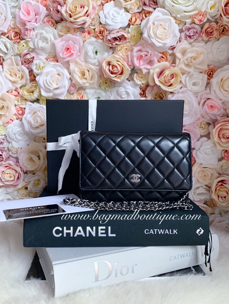Chanel SHW Black Lambskin Wallet On Chain