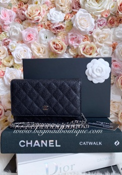 Chanel SHW Black Classic Caviar Wallet On Chain