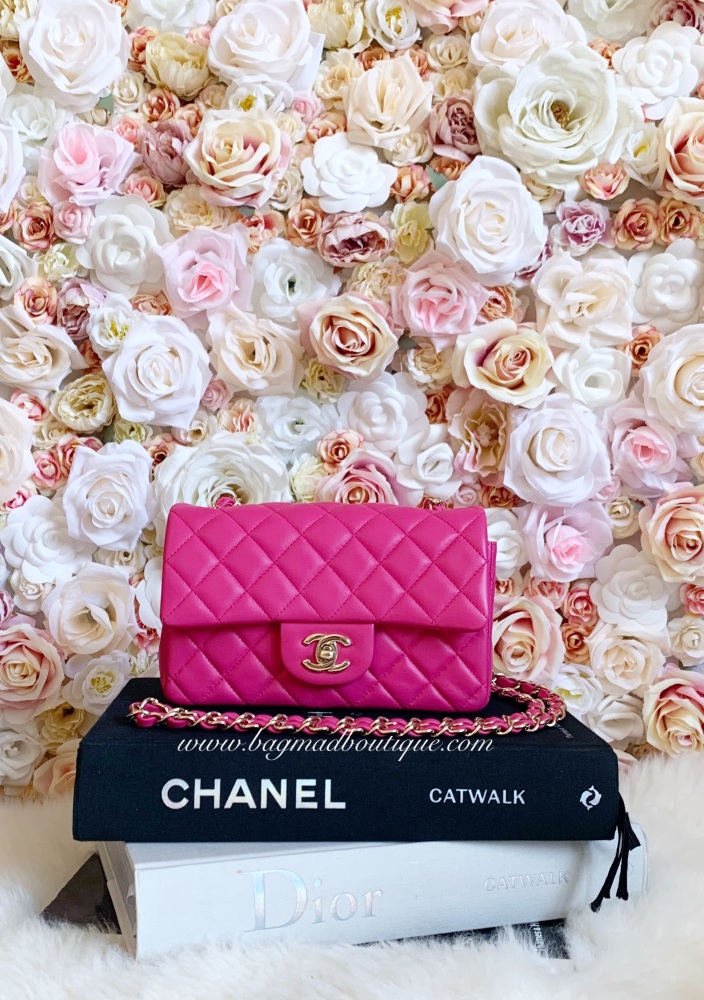 Chanel 2016 cruise  LGHW Pink Lambskin Rectangle Mini