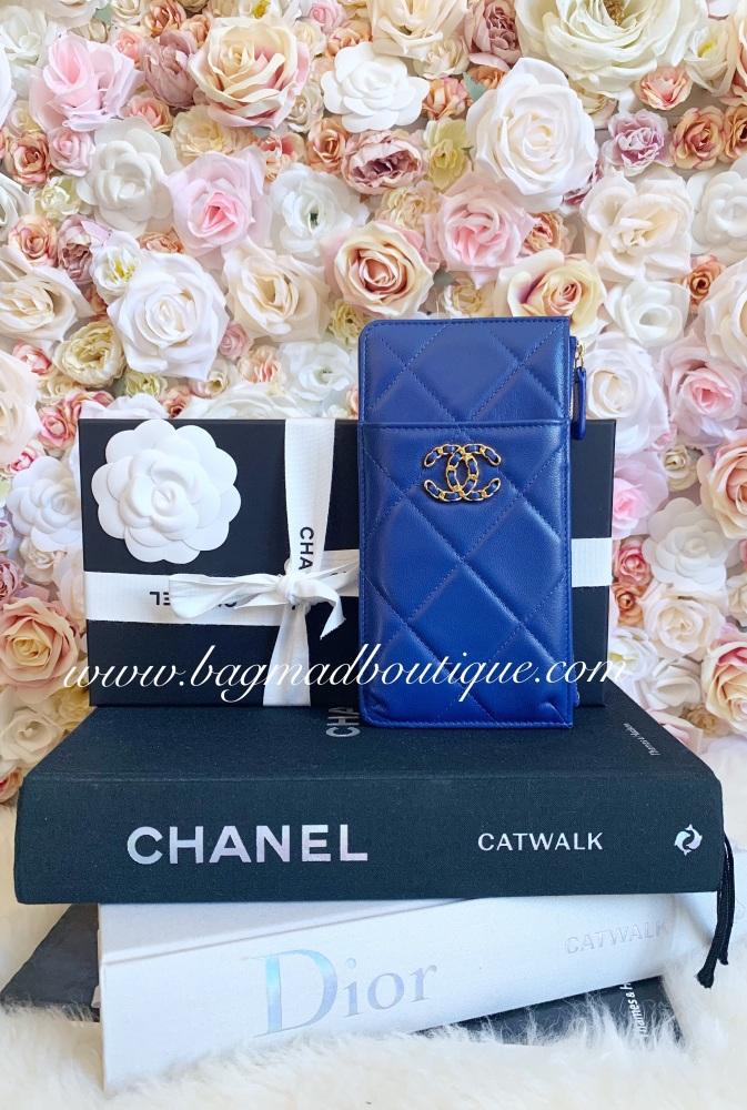 Chanel 19 Blue Goatskin Phone O Case
