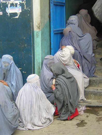 Women outside Afghan mosque