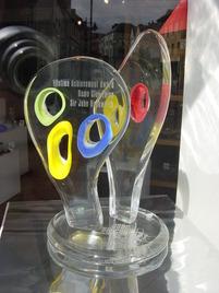 Brecon Jazz lifetime acheivement award 2008 in gallery window