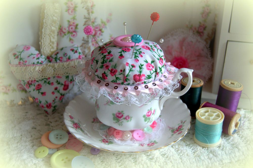 Handmade Vintage Tea Cup Pin Cushion - Rose Garden