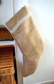 "Handmade Burlap Hessian Christmas Stocking - 24"""