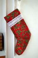 Handmade Holly Berry Christmas Stocking - 14