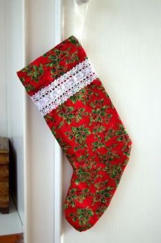 "Handmade Holly Berry Christmas Stocking - 14"""