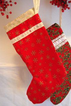"Handmade Red and Gold Snowflake Christmas Stocking - 14"""