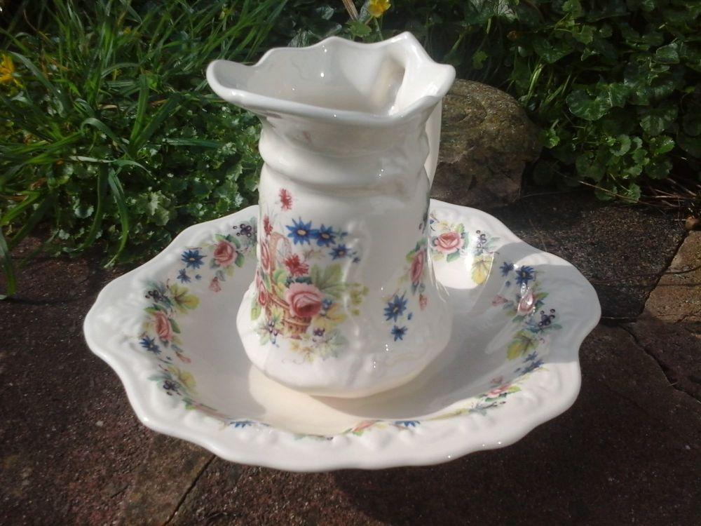 Victorian Floral Jug and Wash Bowl