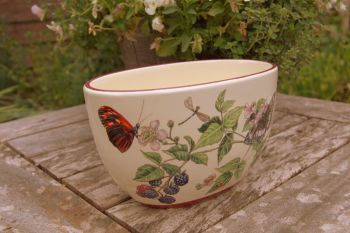 Vintage Pottery Butterfly and Floral Planter Pot