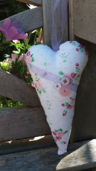 Handmade Floral Fabric, Ribbon and Lace Hanging Heart