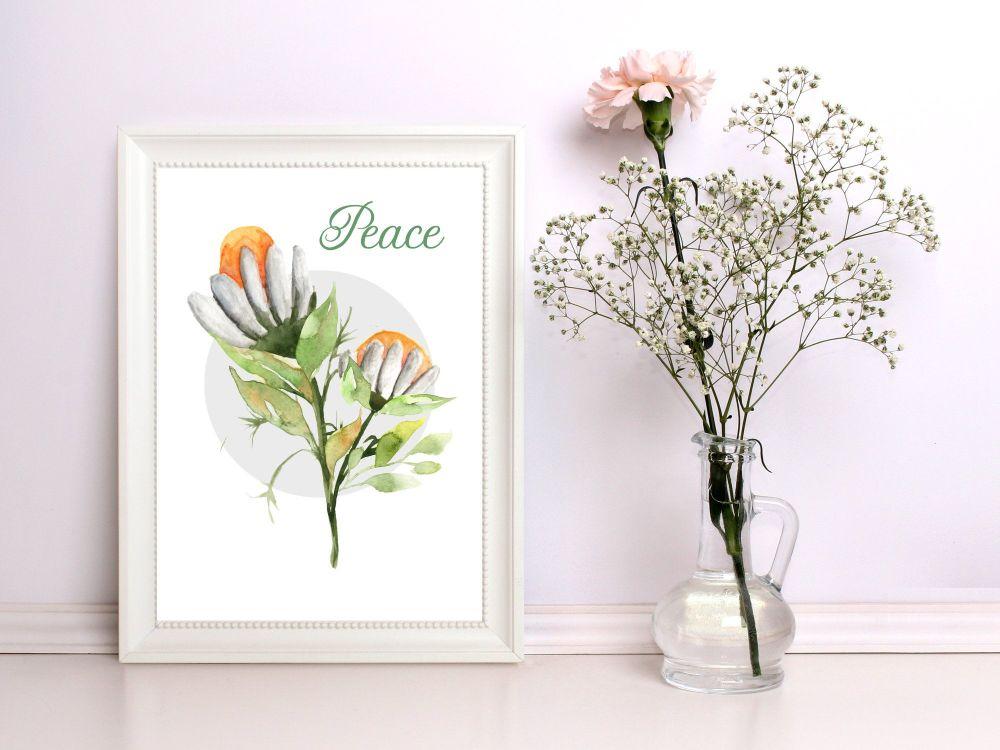 Floral Print, 'Peace' Home Print A4
