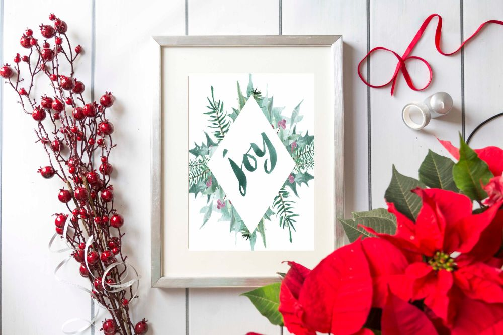 Christmas Watercolour A4 Print, 'Joy' Print. Home Decor, Cottage Home, Gift