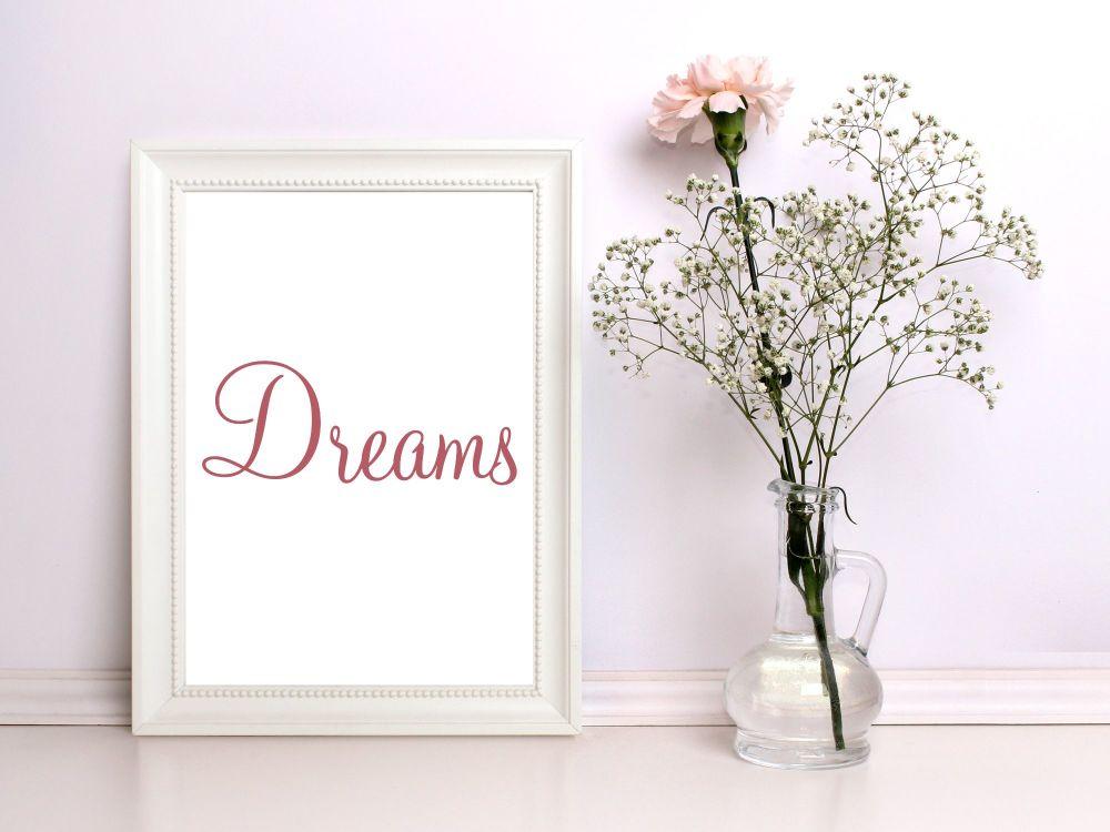 A4 Typographic Print, 'Dreams' Print. Home Decor