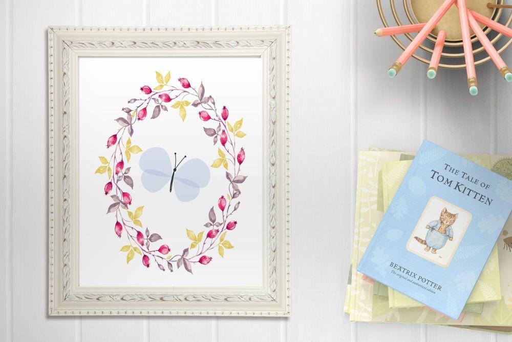Beautiful Blue Butterfly Floral A4 Nursery Print