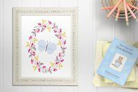 Blue Butterfly Floral Nursery Art Print