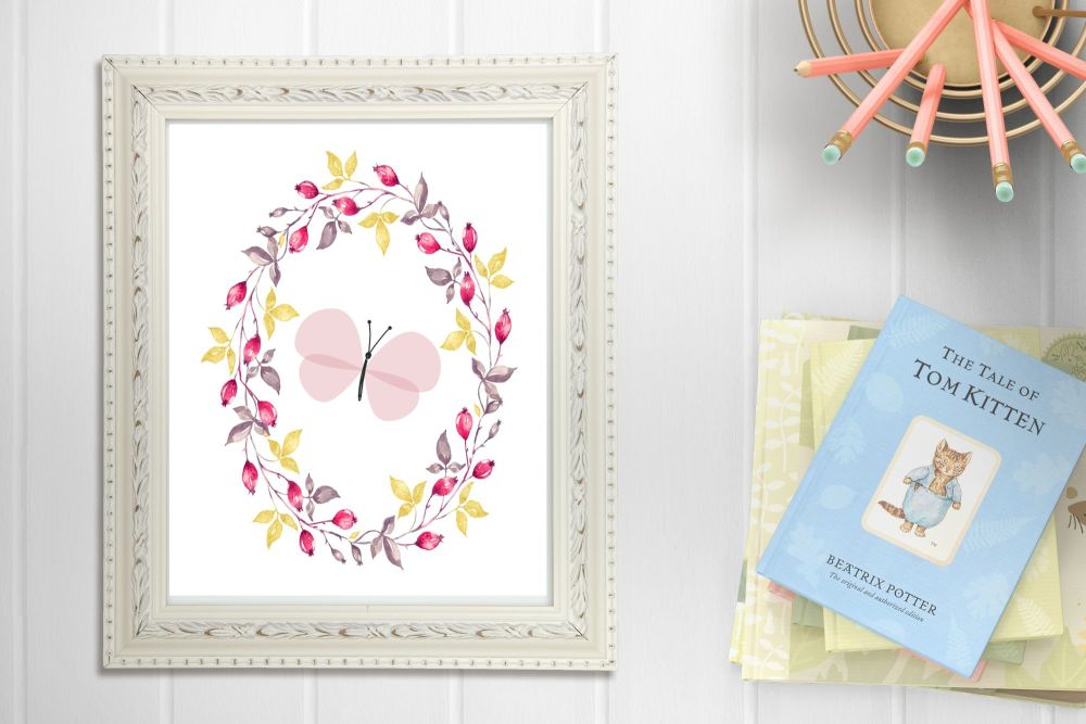 Beautiful Pink Butterfly Floral A4 Nursery Print