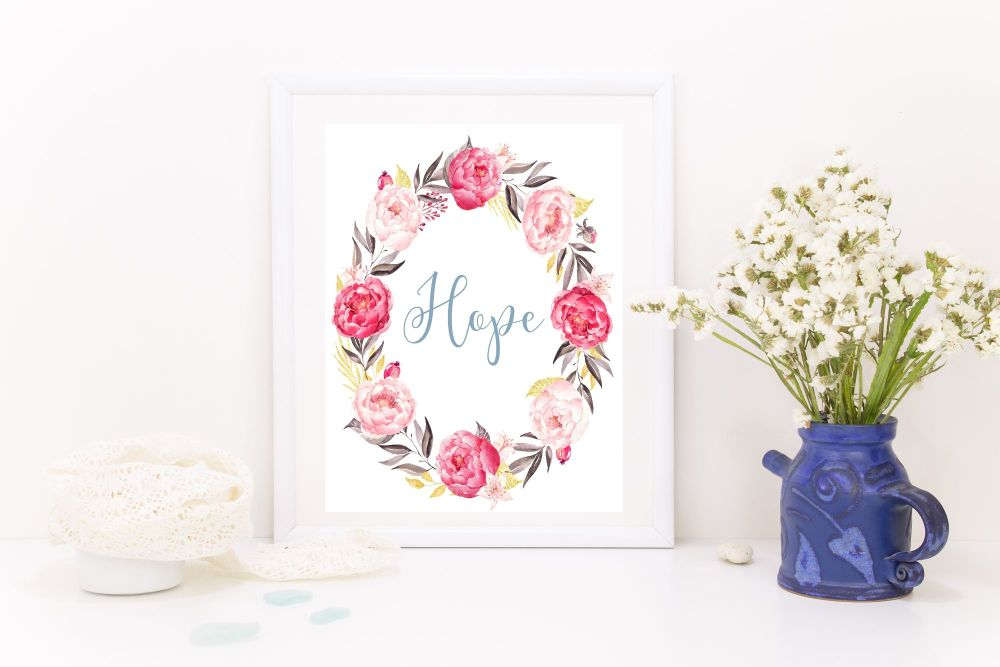 Beautiful 'Hope' Floral A4 Print, Hope Print, Floral Print, Gift, Home Deco