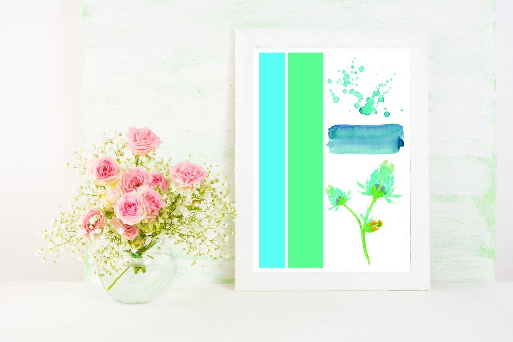Colourful A4 Print - 'Abstract Blue'