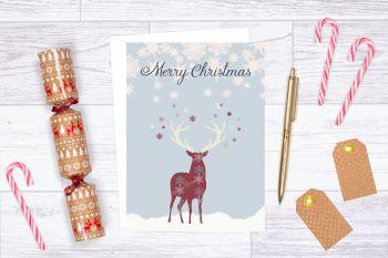 Reindeer Christmas Card, Blank Christmas Card - 5 x 7