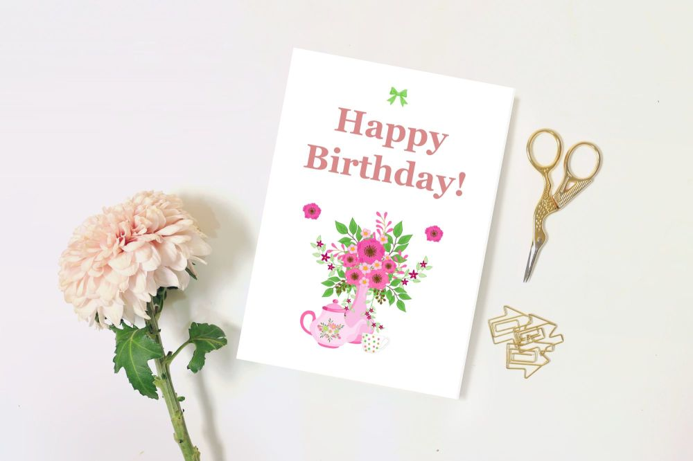 Happy Birthday Blank Card, Sister, Mother, Mum, Friend, Floral, Traditional