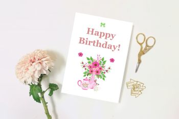 Happy Birthday Blank Card, Sister, Mother, Mum, Friend, Floral, Traditional Pretty Card - 2 sizes