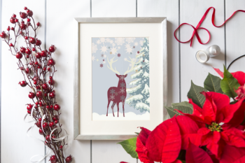 Christmas 'Reindeer in the Snow' Art Print.
